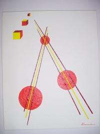 CERCLES, LIGNES ET CUBES EN MOUVEMENT ASC 27x22cm