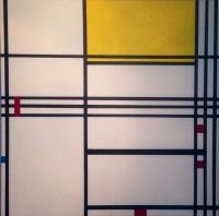 COMPOSITION NEOPLASTIQUE (3) Trilogie Hommage a P Mondrian Acrylique sur toile 80 x 80 cm