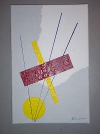 MUSIQUE GEOMETRIQUE SUR FOND A DEUX COULEURS AST 27x41cm