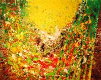 LES COULEURS DE MA CAMPAGNE acrylique sur toile 92 x 73 cm