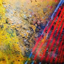 TERRE BRULÉE  Acrylique, aérosol, pâte bitume et technique mixte sur toile  92 x 73 cm
