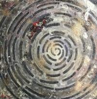 CIRCONVOLUTION Acrylique, pâte bitume et aérosol sur toile 70 x 70 cm