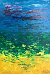 GROS TEMPS Acrylique sur toile 116 x 81 cm