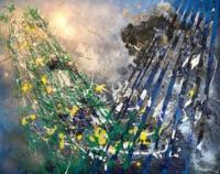 PACIFIC BLUES Acrylique, pate bitume et aerosol sur toile 92 x 73 cm
